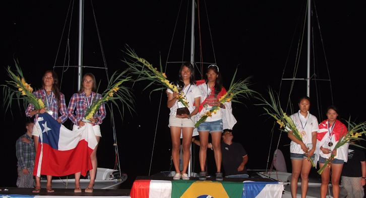 420 Ladies World Championship Medallists. Photo © derpaul.at.