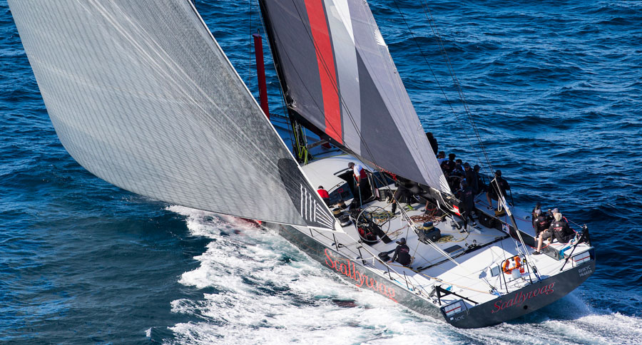 Pictured: The 100ft supermaxi Scallywag taking part in the Gold Coast Race in 2016.