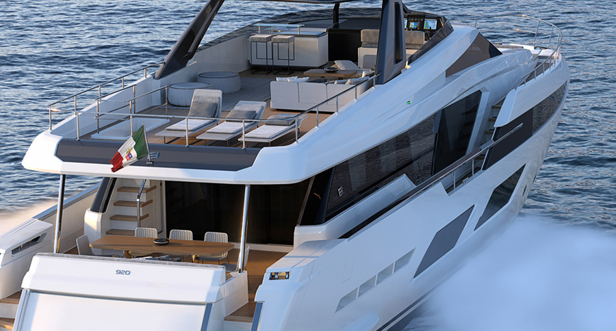 The stunning Ferretti Yachts 920  cruising