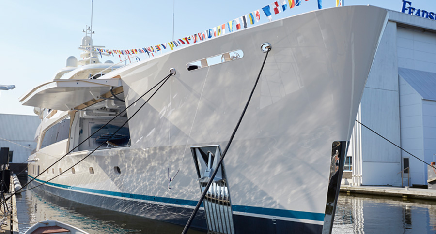 The launch of Feadship's Hull # 696, the 69-metre Samaya.