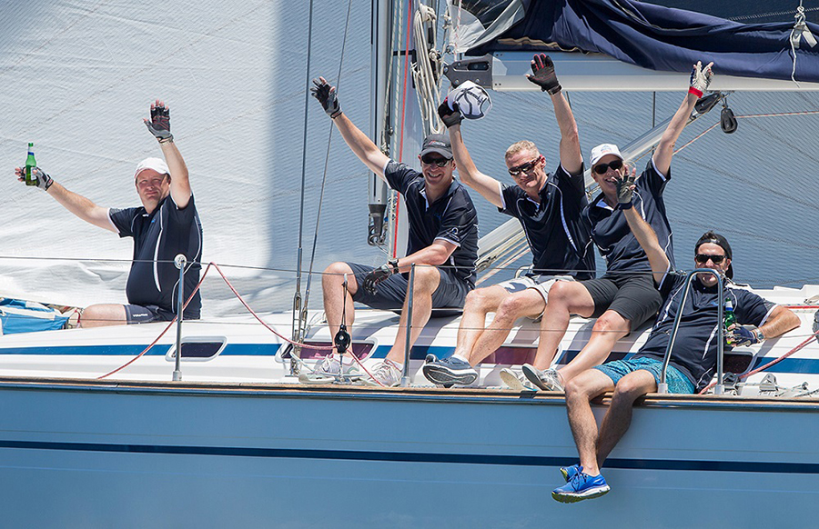 Crew of Cloudbreak enjoy the moment. Sydney Short Ocean Racing Championship 2017