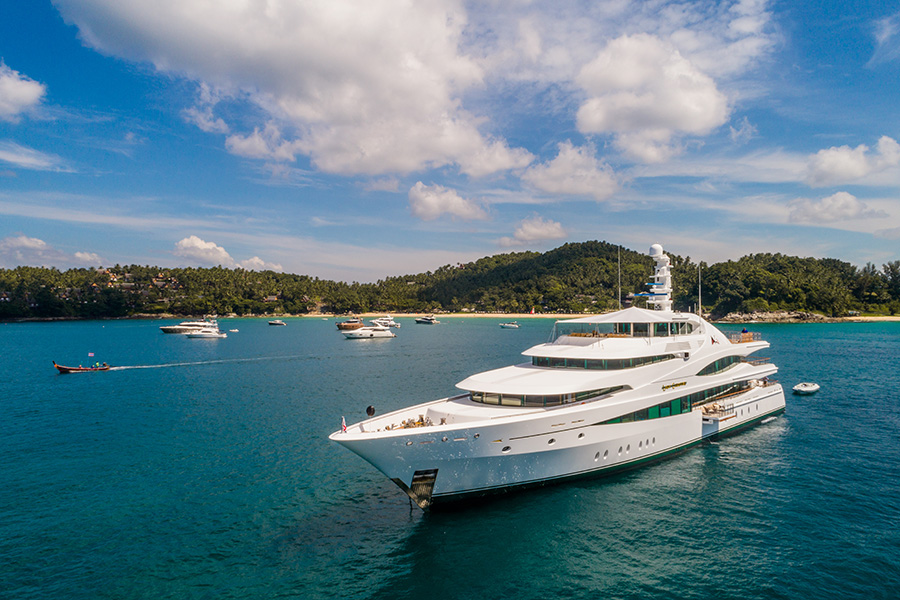 Feadship's 70-metre MY Lady Christine at the Kata Rocks Superyacht Rendezvous.