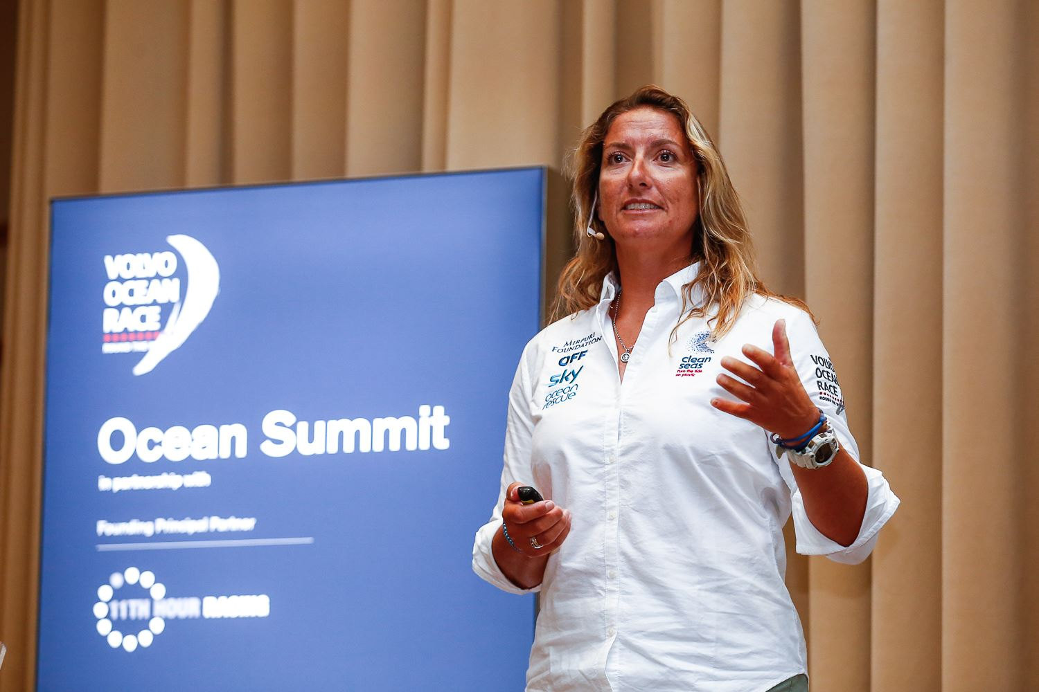 Dee Caffari speaking at the Volvo Ocean Race Cape Town Ocean Summit