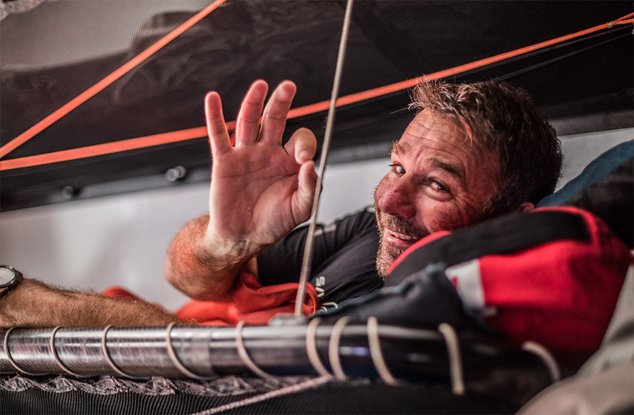 Volvo Ocean Race Leg 4, Melbourne to Hong Kong. Good position report and making great progress towards the finish - a happy David Witt on board Sun Hung Kai/Scallywag