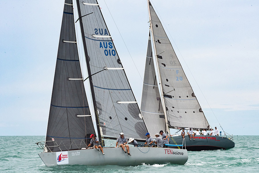 Tenacious and Prime Factor enjoying close racing on-the-water. Samui Regatta 2019